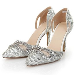 Wholesale 2015 Rhinestone Wedding Shoes cm Stiletto Heel Silver Crystal Women s Prom Party Evening Dress Wedding Bridal Shoes LSDN Custom Made