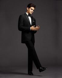 Wholesale Custom Made New Style Groom Tuxedos Peak Lapel Men Suit Black Groomsman Bridegroom Wedding Prom Suits Jacket Pants Tie Vest Al