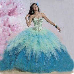 Wholesale Vestidos De Fiesta Ombre Tulle Rhinestone Ball Gowns Quinceanera Dresses Cheap Floor Length Formal Debutante Dresses Lace Up