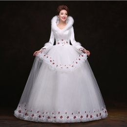 Wholesale 2015 white high neck cowl backs embroidery long sleeve beaded sweep train ball gown princess wedding dresses feather luxury wedding dresses
