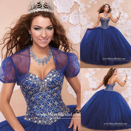 Wholesale Luxury Blue Quinceanera Ball Gowns With Bling Tailored Crystals Beaded Ruched Organza Ragazza Sweet Party Dresses with Jackets