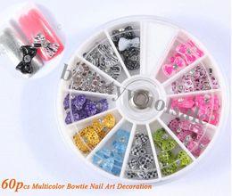 Wholesale New Fashion D Resin Nail Art Design Bows Multicolor Bowtie Nail Art Decoration D Nail Art Mix Design JZ080