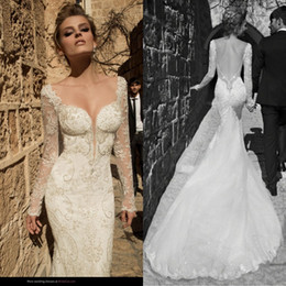 Wholesale Vestidos Galia Lahav Lace Sheer Long Sleeves Mermaid Wedding Dresses Backless Beads Appliques Tull Bridal Gowns Sweep Train