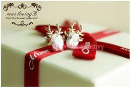Wholesale Christmas Elk Shaped Earrings Cute Crystal Zircon Bridal Accessories Ear Stud Jewelry