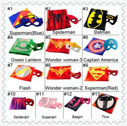 Wholesale Superhero Kids Superman Cape mask kits Superman Batman Spiderman Supergirl Batgirl Robin kids Christmas Halloween cape hot