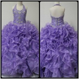 Wholesale Little Girl s Pageant Dresses Glitz Toddler Halter Crystals Purple Long Baby Flower Dress For Girls Kids Party Ball Gowns
