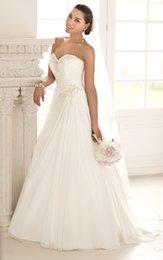 Wholesale Wedding Dresses Bride Gown A Line Custom Sweetheart Sleeveless Chiffon White Court Train Beading Lace Up Hot Sale