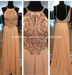 Wholesale 2015 New Blush Chiffon Party Dresses For Women Long Prom Wedding Evening Formals Occasion Wear Sale Cheap Arabic Crystals Backless Vestidos