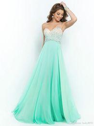 Wholesale A line One Shoulder Rhinestone Sleeveless Floor length Chiffon Prom Dresses Evening Dresses Size Sage