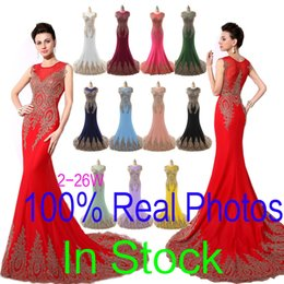 Wholesale Sheer Neck Prom Evening Dresses Lace Embroidery Real Image Red Black Burgundy Royal Blue Formal Wedding Party Gowns Arabic Plus Size