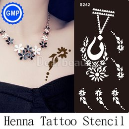 Wholesale piece Henna Indian Designs tattoo Stencils for Body Painting Glitter Reuseable Tattoo Kit Supplies new Templates S216