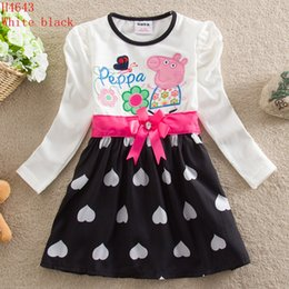 Wholesale Baby Girl Dress New Cartoon Dress Long Sleeve Cute Princess Party Dress Embroidered Kids Spring Dress White Fuchsia Skirt