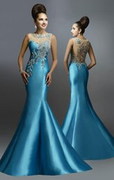 Wholesale New Arrival Mermaid Evening Dresses With Beads Crystal Sheer Sexy Backless Pageant Gowns Party Formal Dresses Designer By Janique