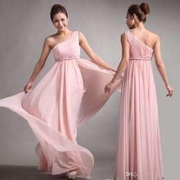 Wholesale 2015 pink chiffon new Bridesmaid Dresses Sweet princess Greek Style Goddess One shoulder Bare Pink Party Dress pleats Discount Prom Dresses