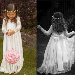 online shopping 2016 Cheap Long Sleeve Lace Flower Girl Dresses Jewel White A line Floor Length Baby Formal Occasion Skirt First Communion Bridal Gowns Cute