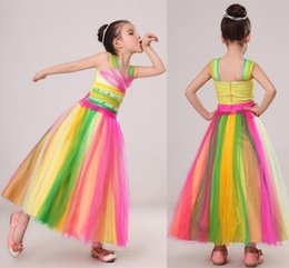 Wholesale Multi color A Line Flower Girl s Dresses with Spaghetti Strap Colorful Tulle Ankle Length Teens Kid s Dress Children s Formal Gowns