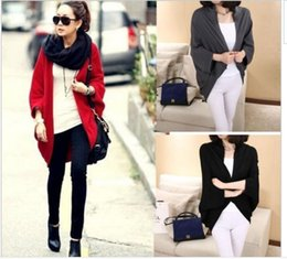 Wholesale 2015 New Women Oversized Loose Knitted Sweater Batwing Sleeve Tops Cardigan Outwear jackets in red black grey color top quality factory