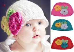 Wholesale styles baby crochet hat mixed and retail Two flowers beanie Children s Hats