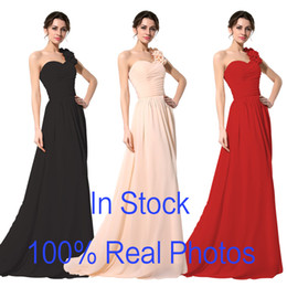 Wholesale In Stock Black Red Maid of Honor Dresses Chiffon One Shoulder A line Handmad Flowers Plus Size Bridesmaid Bridal Party Prom Gowns Cheap