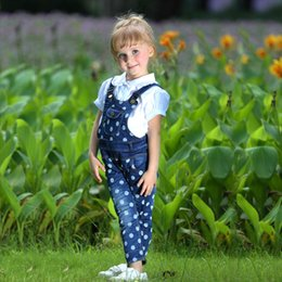 online shopping Hot Sale Retail Cotton Dot Girls Overalls Cute Denim Children Pants Fancy Kids Clothes For Selling SP80922