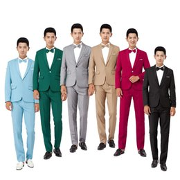 Wholesale Men clothing all match suit wedding dress color groom formal casual suits set high quality male tuxedo handsome jackets