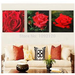 Wholesale Pure hand painted Lover Oil Paintings On Canvas Romance Red Rose Flowers Pure hand painted Painting Wall Art Pure hand painted P