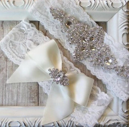 Wholesale 2015 New Sales Sexy lingerie Lace Bridal Garters High Quality Stunning Bow Crystal Wedding Leg Garters Wedding Accessories J001
