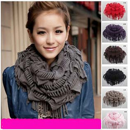 Discount women scarves dhl shipping Big discount Lady Winter Warm Knitting Scarf Infinity Polyester Tassel Scarves Purl Scarf Mixed colors Christmas Gift BY DHL Free shipping