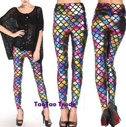 Wholesale 2015 Multicolour Fish Scale Digital Printing PU Leather Leggings Women Sexy High Waist Bodycon Skinny Leggings Pants Trousers Casual Wear