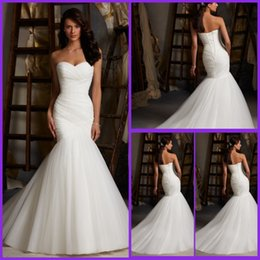 Wholesale Hot sale White Sexy Sweetheart Minimalist Mermaid Wedding Dresses Vestido De Noiva Pleat Soft tulle Bride Gowns