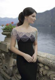 Wholesale 2016 Tarik Ediz Gorgeous Black Beading Crystals Mermaid Evening Gowns Beaded Collar Scoop Long Formal Party Dress