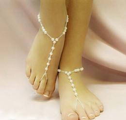 Nueva llegada Sexy Lady playa de las mujeres de imitación de la perla de la sandalia del pie descalzo joyería tobillera cadena # 71319