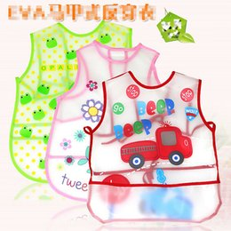Wholesale Infant saliva towels Baby EVA plastic Waterproof bibs apron for Y baby kids animal print pinafore LD143