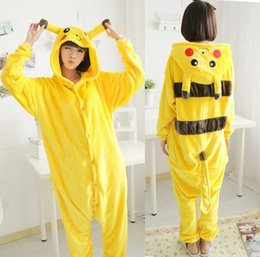 Wholesale Cartoon Anime Pokemon Pikachu Onesie Cosplay Costume Funny Couple Dress Footed Onepiece Animal Pajamas for Women and Men