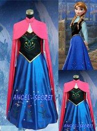 Wholesale 2015 Classic Snow Queen Princess Anna Dress Cloak Suit Adult Girl Cosplay Costume Dress Size S XXL
