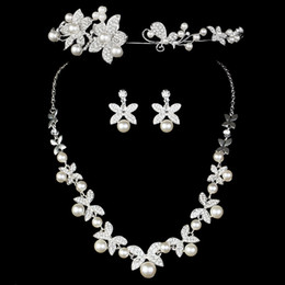 Wholesale 3pcs set Wedding Bride Jewelry Accessaries Set Earring Necklace Crystal Leaves Design With Faux Pearls jz007