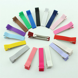 Wholesale 100 cm Double Prong Color Ribbon Covered Alligator Clip Hair Clip For Baby Girl Hair Bows DIY Hair Accessories