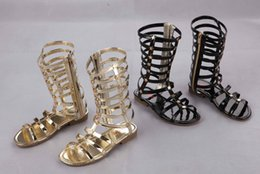 Wholesale EMS Girls Sandals Hollow Weave Star Flat Sandal Shoes High boot Campagus baby New Fashion Gladiator Shoe Yard Golden Silver Black I3756