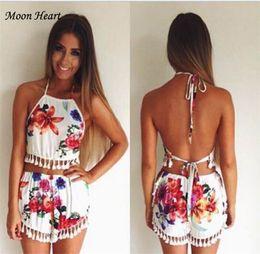Wholesale New Arrival Summer Floral Patchwork Women Pant Suits Print Shorts Off the Shoulder Piece Sets Dress For Women