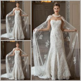 Wholesale Hot Sale Sheer Lace Bridal Wraps Long Cape With Beads Wedding Accessories WJ