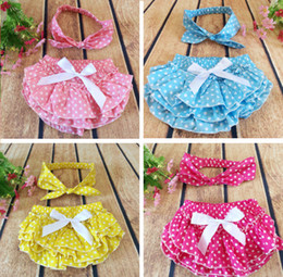 Wholesale NEW baby girl kids toddler Mickey Minnie polka dots cake bloomers shorts pants lace diaper covers Cute bowknot headband Headwrap