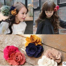 Wholesale flower hair clip Sweet Korean New floral bow hair clips Cute flower hair accessories for girls kids hair bows H145