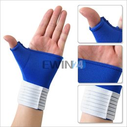 Discount gym gloves wrist support Elastic Thumb Wrap Wrist Palm Splint Supports Sport Gloves Elastic Brace Gym New and High Quality 2pairs