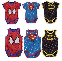 Wholesale Summer Superman Batman spiderman Baby Boys Girls Rompers Cool Star Spots Newborn Clothes Short Sleeve Triangle Jumpsuit