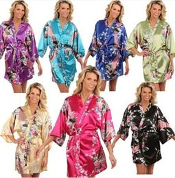 Wholesale 14 Colors S XL Sexy Women s Japanese Silk Kimono Robe Pajamas Nightdress Sleepwear Broken Flower Kimono Underwear Opp Bag