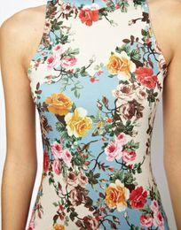 Wholesale New Spring Summer Flowers Pattern Print Woman Pack Hip Cheongsam Dress Slim Waist European And American Style ASS