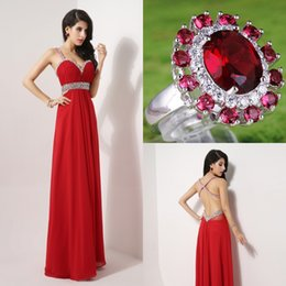 Wholesale In Stock Backless Prom Evening Dresses Beads Real Image Red Crystal Chiffon A line Sexy Bridal Party Gowns Black Friday