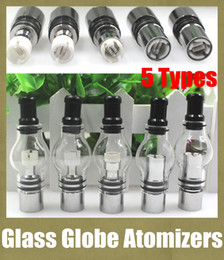online shopping Glass Globe Atomizers Dual Coil Dome Wax Tank Dry Herb Double Ceramic Titanium Wick Clearomizer Electronic Cigarette Tank DHL Free ATB029