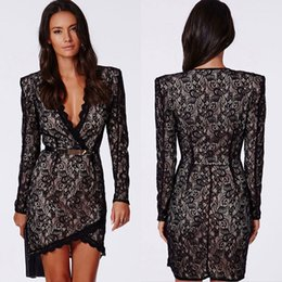 Wholesale Cheap Sexy Black Lace Sheath Cocktail Dresses V Neck With Long Sleeves Short Mini Party Club Dress