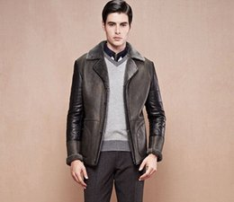 Wholesale 2014 New Rushed Motorcycle Leather Jacket Men Winter Thick Warm Vintage Genuine Leather Jackets Military Mens Trench Coat